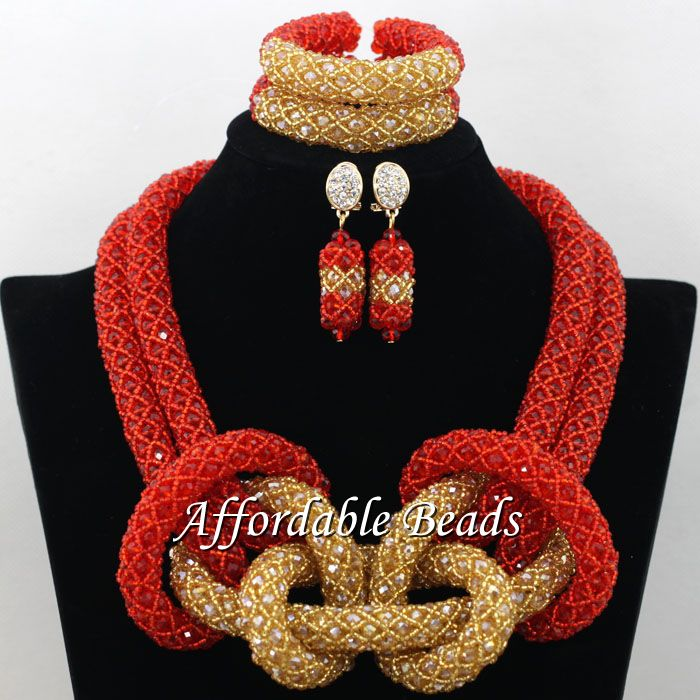 Red Champagne African Crystal Beads Set Pretty Dubai Gold Jewelry Set New Items Wholesale Free Shipping NCD006 планшет samsung galaxy tab tab e sm t561 8gb white sm t561nzwaser