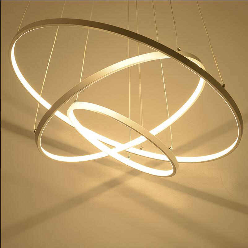 Modern pendant lights for living room dining room 4/3/2/1 Circle Rings acrylic aluminum body dimmable LED Pendant Lamp fixtures modern led pendant lights for living room 2 1 circle rings acrylic led hanging lamp kitchen lamp gold body handing lamp acrylic