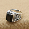 Men Black Zircon Wide Thai Silver Ring Thai silver ring men thai silver ring male 925 pure silver ring Individuality