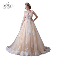Elegant Champagne Wedding Dresses 2017 Spaghetti Straps Sweetheart Lace Beaded Tulle Transparent Corset Bridal Wedding Gown