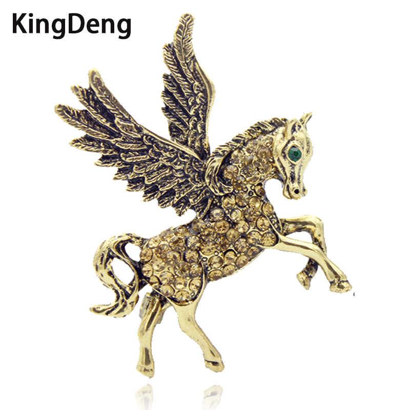 Kuda Bros untuk Wanita Unicorn Berlian Imitasi Emas dan Perak Enamel Pin Hadiah Kuda Kerah Pria Hewan Besar Bros Karl perhiasan