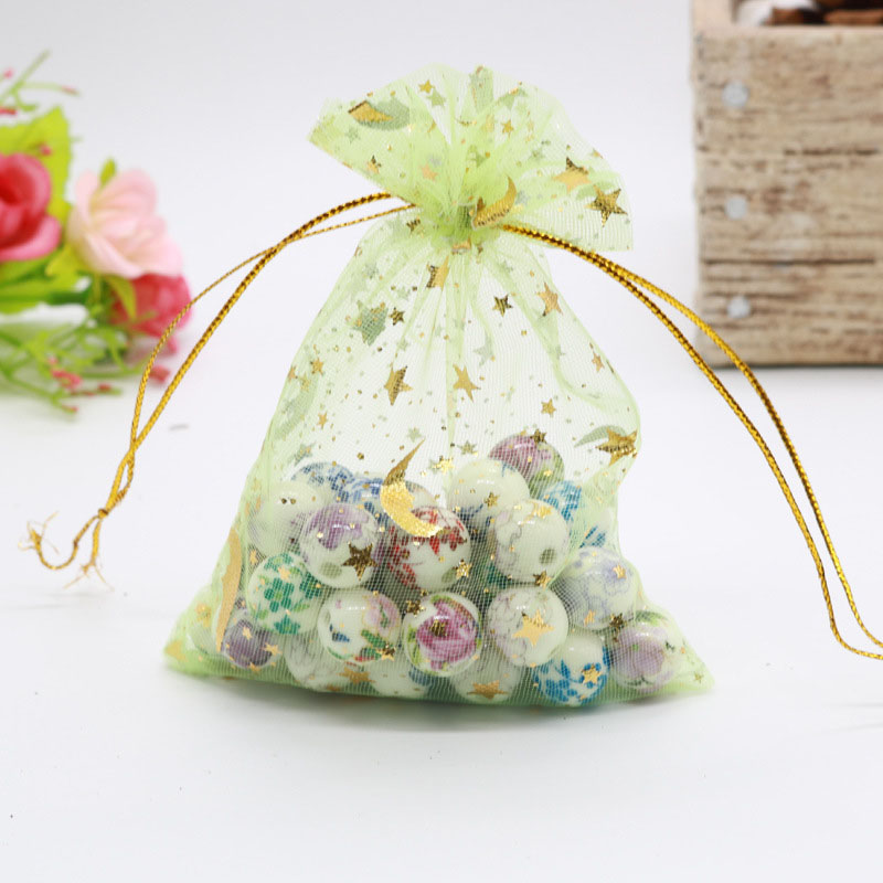 2000PCS LOT Organza Drawstring Bags Moon Star Small Gift Bag Portable Reusable Pouch Wholesale Net Yarn