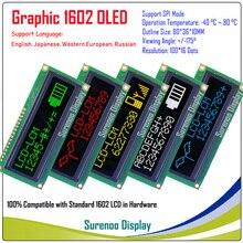 אמיתי OLED תצוגה, WS0010 גרפי 100*16 נקודות תואם עם 1602 162 אופי LCD מודול LCM מסך, תמיכת SPI
