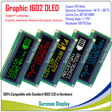 Real OLED Display, WS0010 Graphic 100*16 Dots Compatible with 1602 162 Character LCD Module LCM Screen, Support SPI
