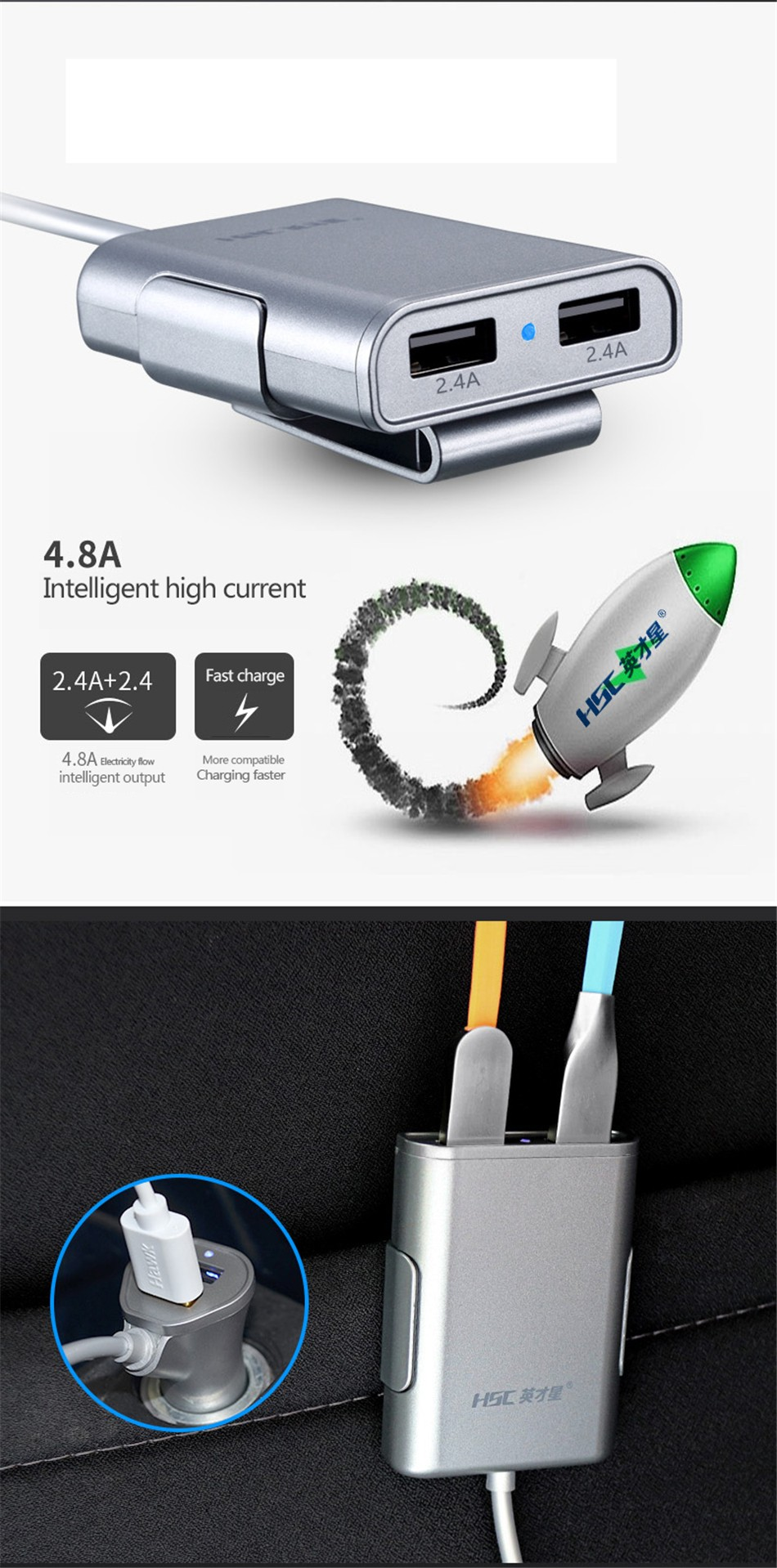 Brand HSC-600 car-charger 4 USB 4.8A Lengthen 1.8 meters , car charger for ipad iphone 5 5s 6 6s and samsung phone (8)