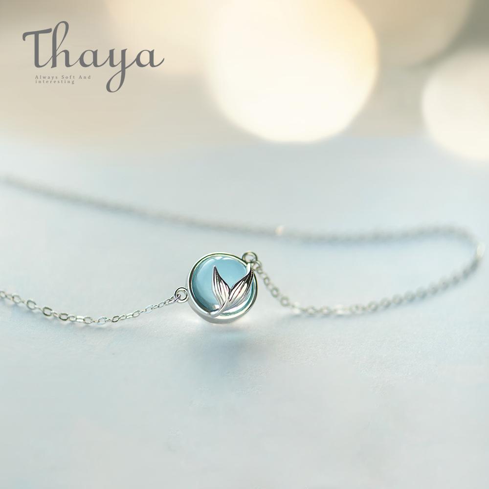 Thaya Mermaid Foam Bubble Design Crystal Necklace s925 silver Mermaid Tail Blue Pendant Necklace for Women Elegant Jewelry Gift(China)