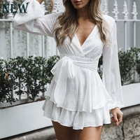 NLW Long Sleeve Ruffle Sexy White Playsuit Bow Casual Women Playsuit V Neck Beach Elegant Shorts Jumpsuit Rompers