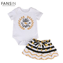 Fansin Brand 2017 Summer 2pcs/Set Family Matching Outfits Toddler Baby Girls Clothing Print Rompers+ Bowknot Skirt Kids Outfits