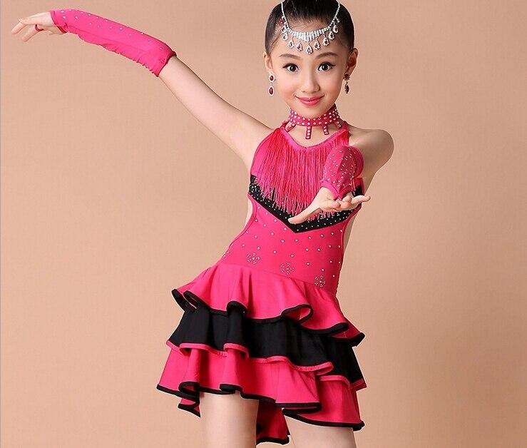 Hot Kid Girl Tassel Dress Ballroom Latin Salsa Dancewear -3005
