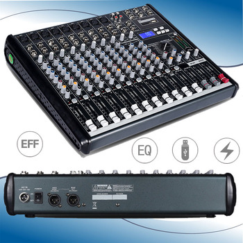 12 Channel USB Mixer Professional Audio Mixer DJ Mixer Console Output Sound Mixer for Stage Karaoke