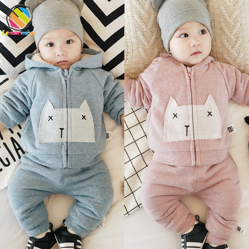 Lemonmiyu Warm Winter Baby 2 Pieces Hooded Outwear Sets Cartoon Cotton Infant Newborn Padded Thicken Girl Boys Overalls Clothes kids winter overalls for girls 2017 newborn clothes infant cartoon baby boys hooded rompers thicken warm cotton baby snow suits page 2