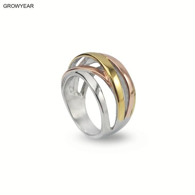 0a57dd3829d2 3 colores geométricos líneas anillo acero mujeres moda joyería Color plata  oro Color rosa Color oro