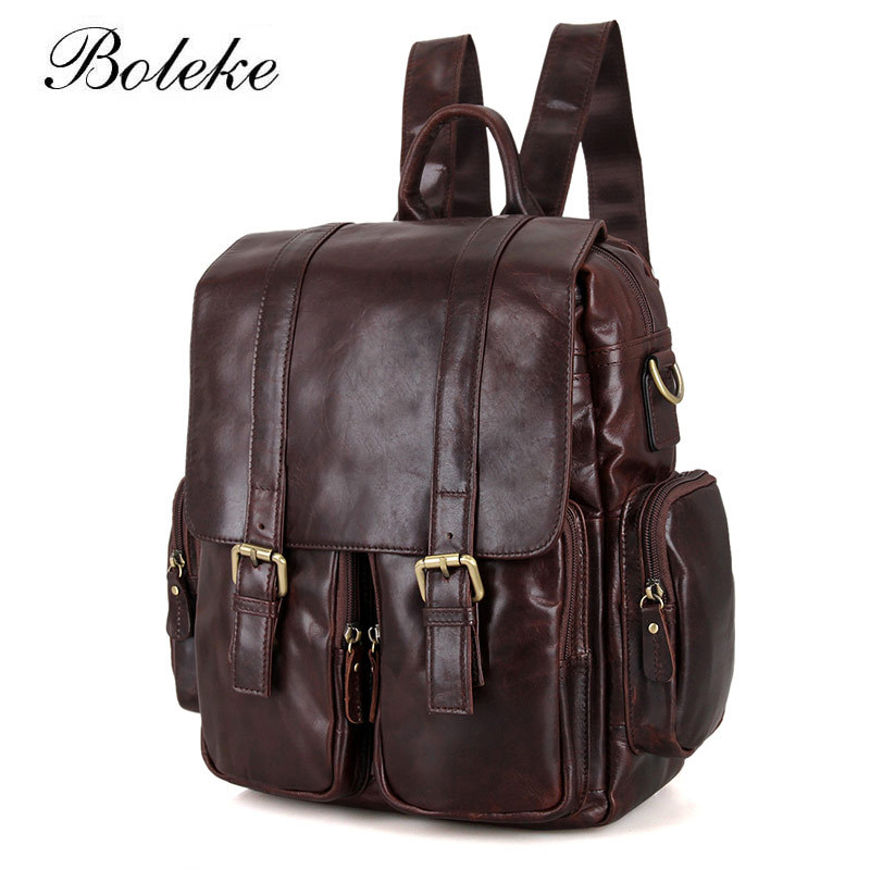 High Quality 100% Real Genuine Leather Men Backpacks Cowhide School Laptop Daily Backpack women Handcraft Tote Bag 7132 aiweiyi womens high quality genuine leather real fur 100