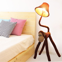 New Modern Cute fabric Brown Monkey floor lamp romantic rural Study Room floor lamp cute children bedroom floor lights