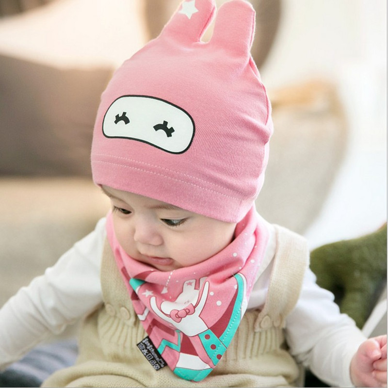 Cut Baby Hat Newborn Infant Beanies for Children Kids Boys Girls Cotton Cap + Bibs Scarf, 2pcs/set