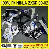 8Gifts Injection mold Body For KAWASAKI NINJA ZX 6R 00 02 INJ303 ZX 6R ZX6R 00 01 02 ZX636 2000 2001 2002 Fairing white black
