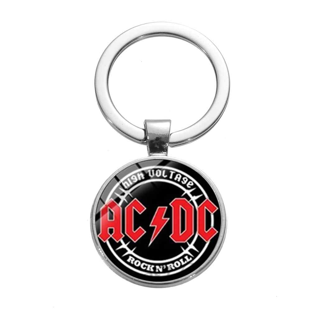 SONGDA Pop Rock Band AC/DC llavero Hip Hop Punk moderno Logo impreso tiempo gema Metal coche llavero soporte para fanáticos de la música
