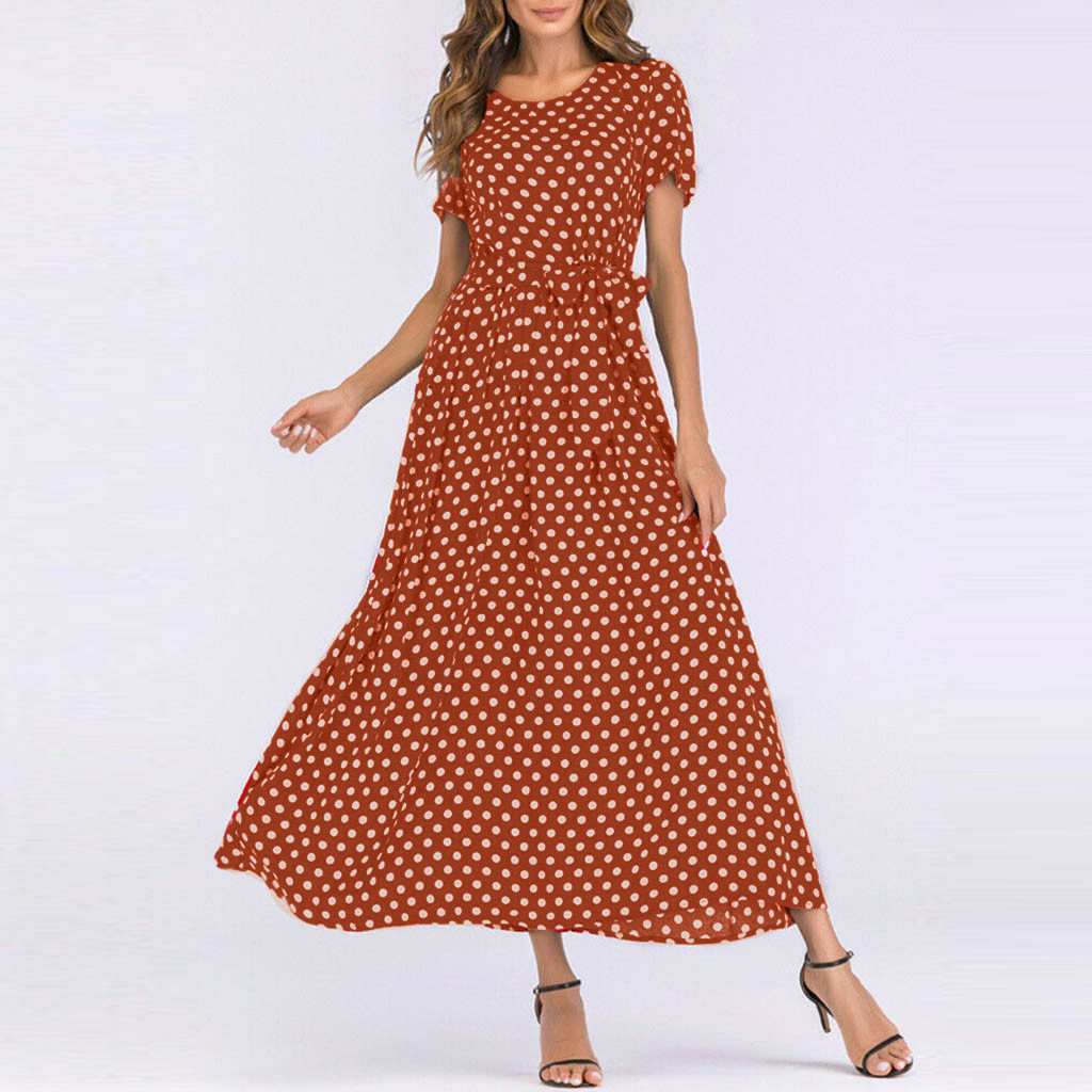 HTB1qui3aqSs3KVjSZPiq6AsiVXaq - Summer Dress Women O-Neck Short Sleeve Boho Polka Dot Bandage Maxi Long Dress Women Beach Sundress Plus Size Vestidos
