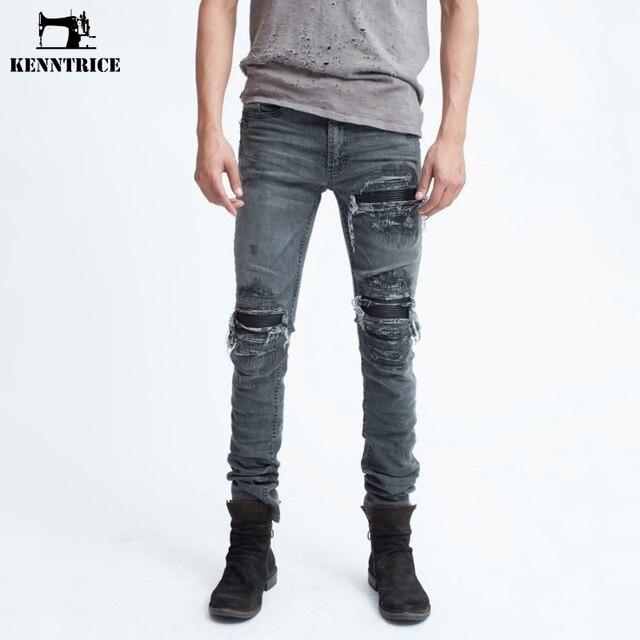 e83dc222b6b KENNTRICE Hip-Hop Black Ripped Jeans Men Street Wear Mens Fashion Bieberr  Hip Hop Pants