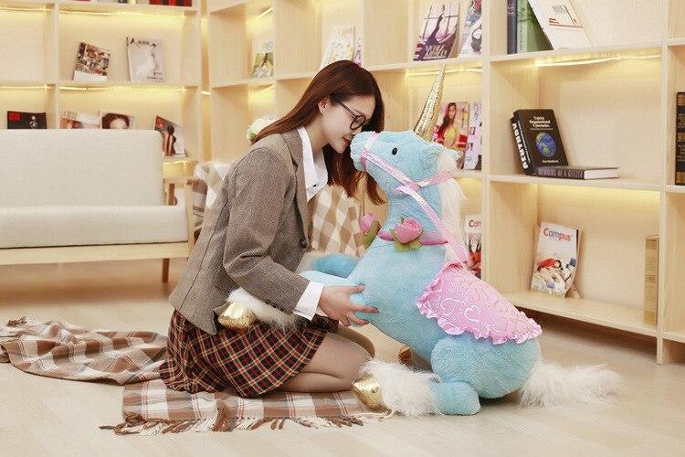 Grand 90 cm bleu licorne peluche jouet doux poupée oreiller jouet cadeau de noël h0900