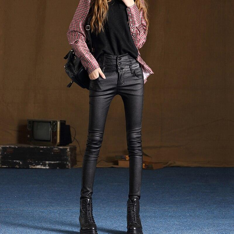 Hiver Pu Velvet Plus De Haute Black Elactic Mat Streetwear Cuir Noir Chaud Taille Velours Pantalon Le Femmes Mode En Mince Leggings Épais wPk8nZ0NOX