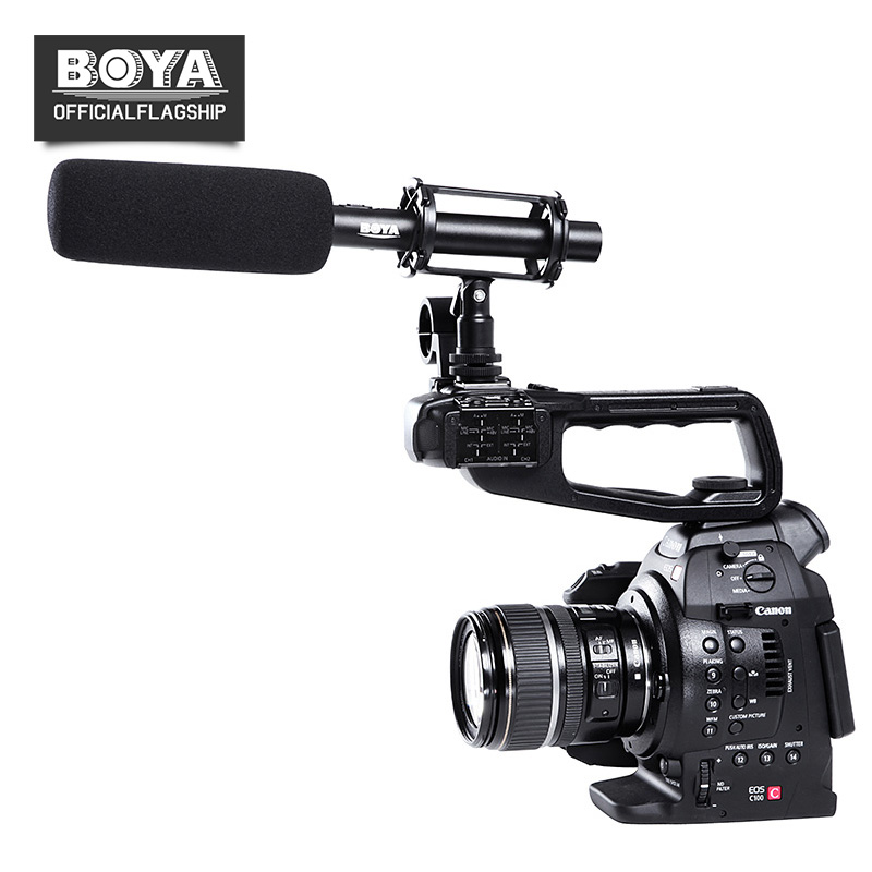 BOYA BY-PVM1000 Professional DSLR Condenser Shotgun Microphone 3-pin XLR Output Video Mic for Canon Nikon Sony DSLR Cameras