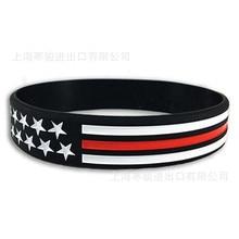 USA red blue line Silicone Sports Bracelets & Bangles Women Fluorescent Rubber Fitness Wristband Bracelet