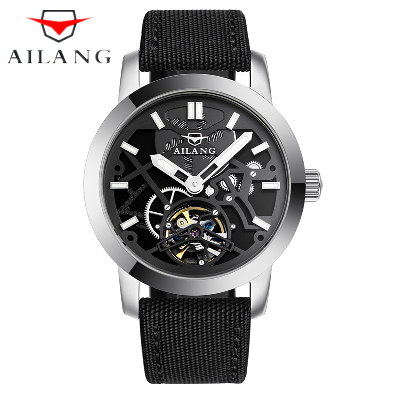Skeleton Tourbillon Military Mechanical Watch AILANG Men luxury brand automatic Mechanical Watch Mens gift Relogio Masculino luxury antique skeleton cooper mechanical automatic pocket watch men women chic gift with chain relogio de bolso