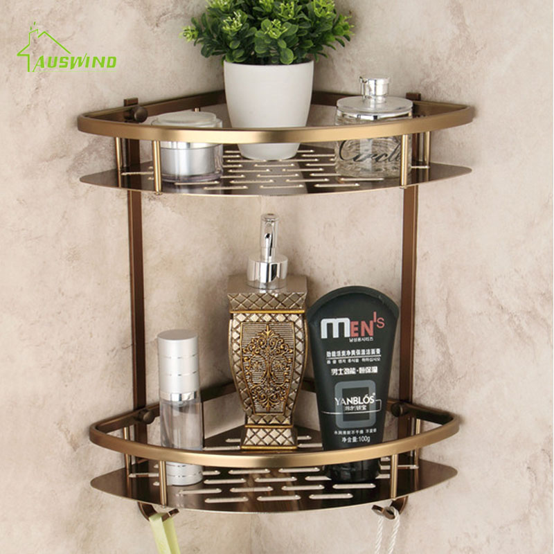 Antique Brushed Bathroom Shelves Double Layer Bronze Corner Shower Shampoo Soap Cosmetic Storage Shelf Bathroom Products