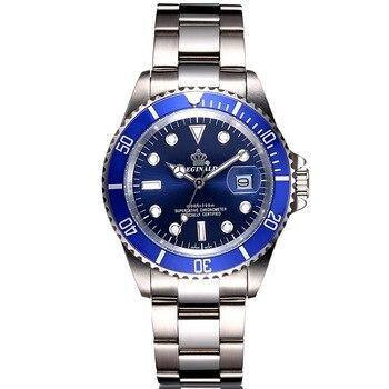 Relojes de Acero para hombre, reloj de cuarzo de lujo para hombre, reloj de pulsera de 50m para hombre, para deportes acuáticos, 2017, reloj masculino