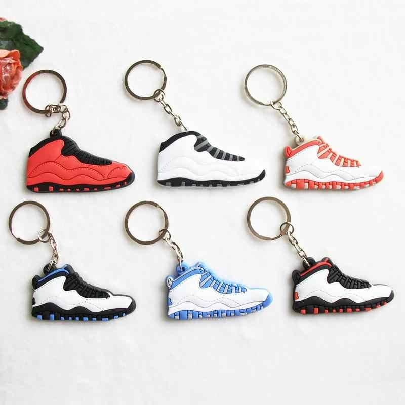 ミニシリコーンジョーダン 10 キーチェーンバッグチャーム女性男性子供キーリングギフトスニーカーキーホルダーペンダントアクセサリー靴キーチェーン