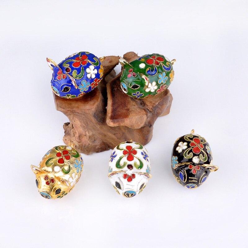Cute Chinese Cloisonne Mini Pig Decoration Ornaments Handmade fetal copper filigree Enamel Home Decor Crafts Gift