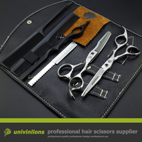Univin 5 5 Hair Scissor Kits Including Razor Scissor And Thinning Scissor With Bag Cloth Comb