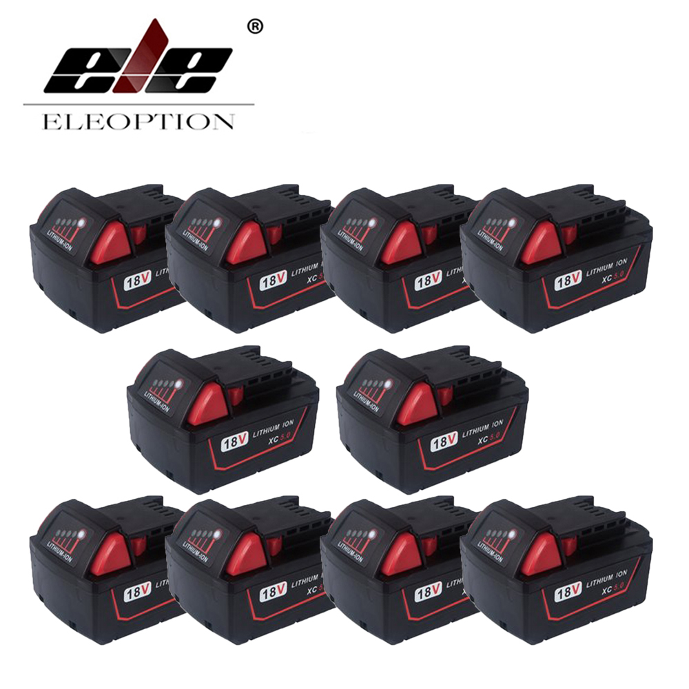 ELEOPTION 10PCS Wholesale 5000mAh 18V Li-Ion Replacement Power Tool Battery for Milwaukee 18v 6000mah rechargeable battery built in sony 18650 vtc6 li ion batteries replacement power tool battery for makita bl1860