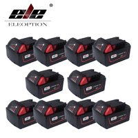 ELEOPTION 10PCS Wholesale 5000mAh 18V Li Ion Replacement Power Tool Battery for Milwaukee M18 XC 48 11 1815 M18B2 M18B4 M18BX