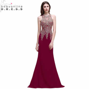 Elegant Plus Size Burgundy Mermaid Lace Prom Dresses Long Sexy Transparent Appliques Beaded Prom Gown Vestido de Festa Longo - DISCOUNT ITEM  22 OFF Weddings & Events