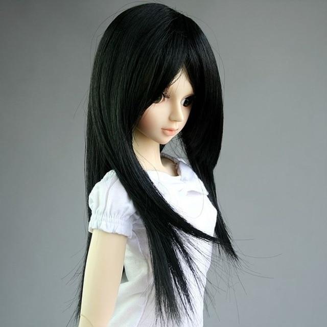 "[wamami] 02# Black Long Straight Wig For 1/4 MSD DOD AOD DZ BJD Dollfie 7-8"""