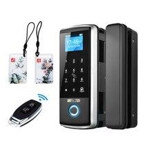 スマートドアロック指紋電子デジタルゲートオープナー電気rfidバイオメトリック指紋セキュリティガラスパスワードカード