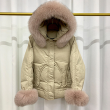 Real Natural Fox Fur Collar 2019 Winter Jacket Women Hooded Duck Down