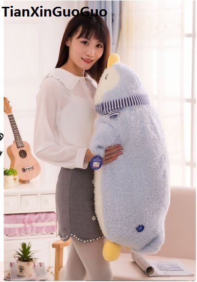 large 80cm cartoon blue penguin plush toy soft doll sleeping pillow Valentine's Day gift w2555 пинетки митенки blue penguin puku