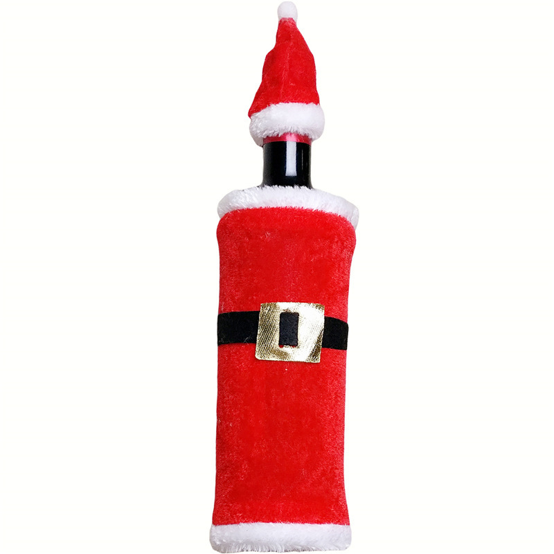 1 Set Red Wine Bottle Sets & Christmas Cap On Bottle Santa Gift New Year Home Party Christmas Ornaments Decoration Wholesale