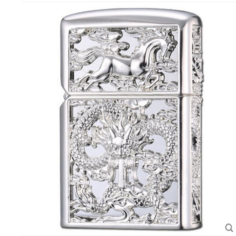 Image 4 - 2018 Luxury 3D Lighter Men Gadgets Kerosene Oil Petrol Lighter Dragon Horse Gasoline Cigarette Accessories Retro Hollow Lighter-in Cigarette Accessories from Home & Garden