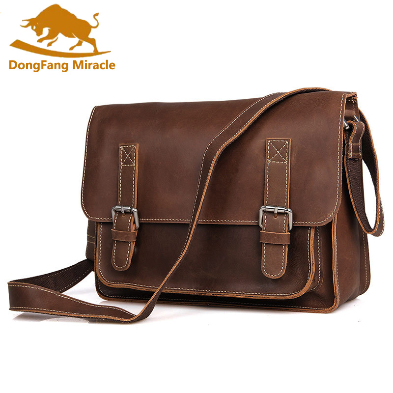 Crazy horse leather shoulder Bag vintage genuine cowhide leather men messenger bags business crossbody male bags