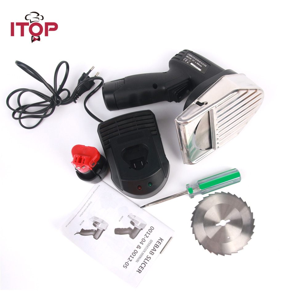 ITOP Kebab Slicer Meat Shawarma Rechargeable Meat Cutting Machine Electric Gyros Cutter Kitchen Knives With 2 Blades itop 10 blade premium meat slicer electric deli cutter home kitchen heavy duty commercial semi automatic meat cutting machine