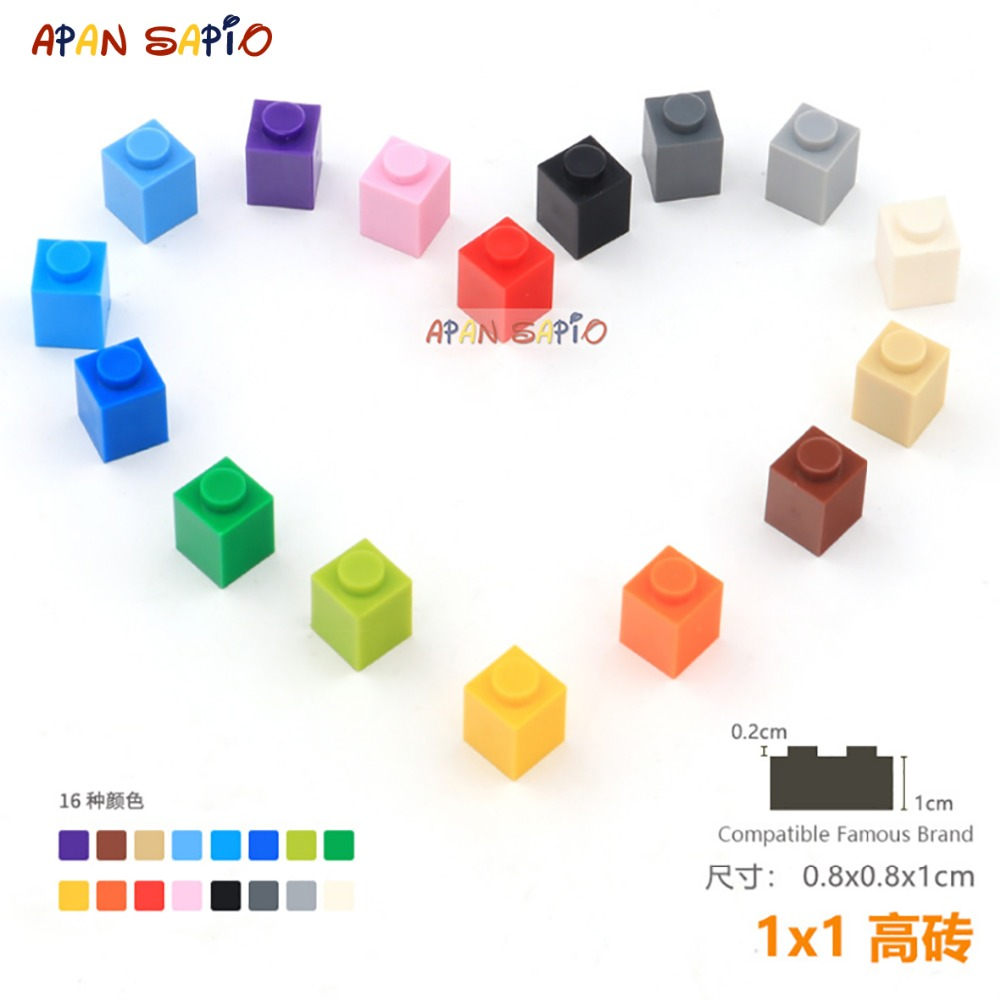 45pcs/lot DIY Blocks Building Bricks Thick 1X1 Educational Assemblage Construction Toys for Children Size Compatible With Brand