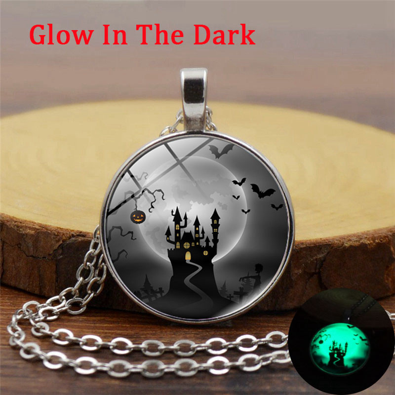 XUSHUI XJ Halloween Luminous Necklace Fashion Glass Dome Cabochon Pendant Neckalce Glow In The Dark Jewelry Party Gifts