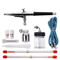 Spray Gun Portable Needles & Nozzles Dual Action Airbrush Air Compressor Kit Craft CakePaint Art Pneumatic Power Tools