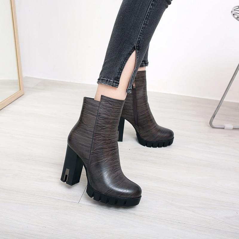 Boot Bureau Noir Femme Gris Dames Noir Carré Cheville Talons SRomance Sb031 Bottes Fshion 2018 Femmes Brun marron gris Haute Pompes Chaussures qMSVpUz