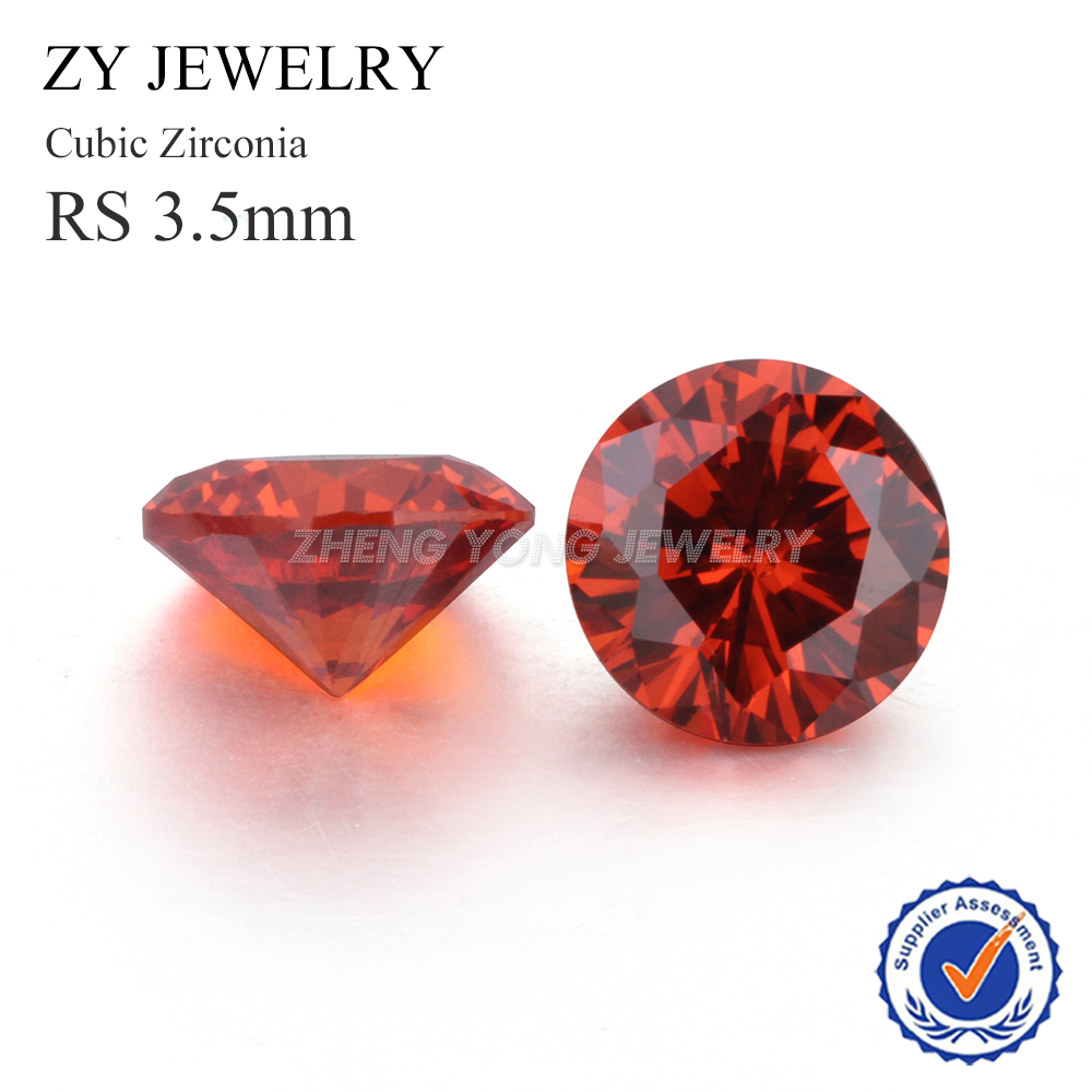 3.5mm Round Brilliant Cut Orange Loose Cubic Zirconia Stone For Jewelry Making