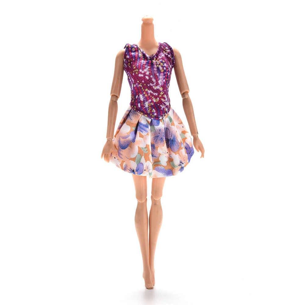Verano Multi estilos falda hecha a mano ropa vestido gafas collar de plástico zapatos para Barbie accesorios de la muñeca bebé juguetes mejor regalo